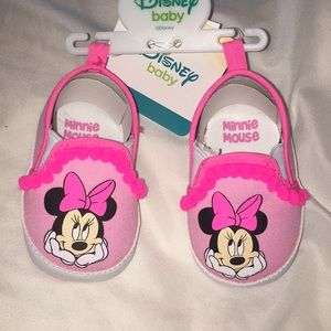 Minnie Mouse Pom Pom Baby Shoes, Pink, 3-6 Months